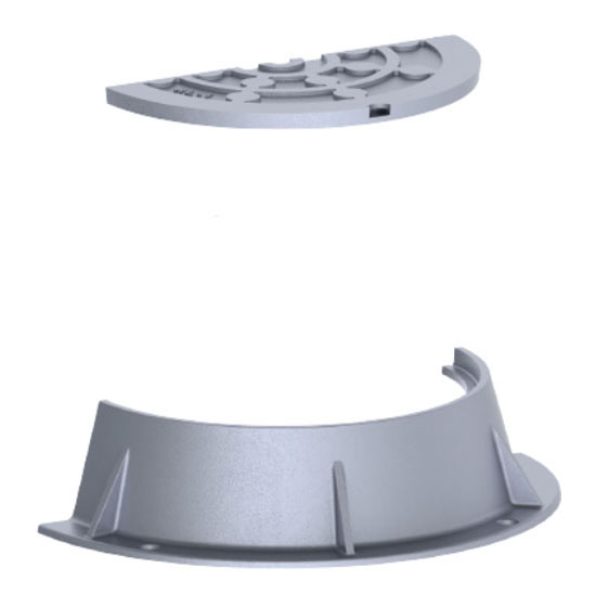 "33-1/4"" x 7-1/2"" Ring, 23-1/2"" x 1"" Cover, Logo Sewer, Grey, Cast Iron, Heavy Duty, Gasket, Camlock, Round, Manhole Ring and Cover"