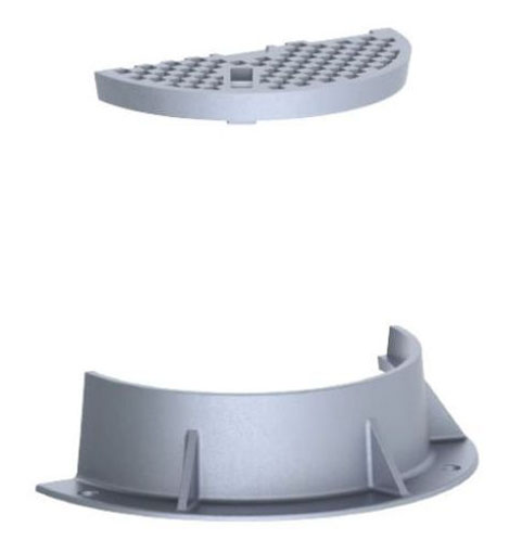 """33"""" x 8"""" Ring, 23-1/2"""" x 2"""" Cover, Logo Sanitary Sewer, Grey, Cast Iron, Heavy Duty, Gasket, Round, Manhole Ring and Cover"""