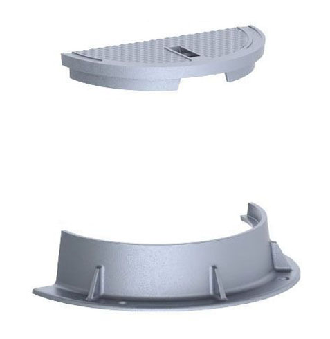 "36"" x 7-1/2"" Ring, 26"" x 1-1/2"" Cover, Grey, Cast Iron, Heavy Duty, Gasket, Camlock, Round, 1-Vent, Manhole Ring and Cover"