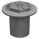 "15-1/4"" x 14-1/8"", Grey, Cast Iron, Logo Sewer, Heavy Duty, Round, Valve Box and Cover"