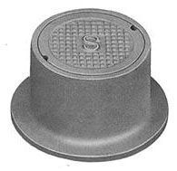 "13-1/4"" x 7"" Ring, 8-1/2"" x 2-1/2"" x 1-1/2"" Cover, Logo Sewer, Grey, Cast Iron, Heavy Duty, Round, Handhole Ring and Cover"
