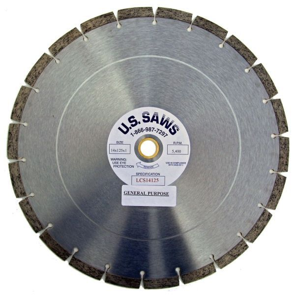 "14"" x 0.125"", 1""/20 MM Bore, Super-Econo, General Purpose, Saw Blade for Cured Concrete/Green Concrete/Concrete Pipe/Brick/Block/Roof Tile (5-Pack)"
