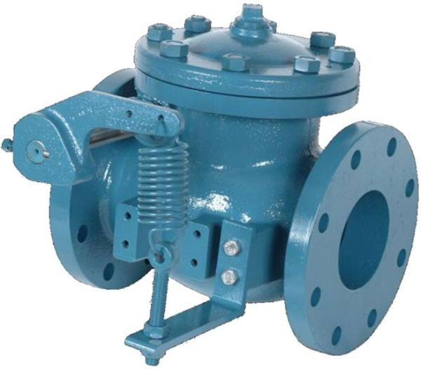 """4"""", Class 125 Flanged x Class 125 Flanged, 250 PSI, Epoxy Coated Ductile Iron, Bolted, Ludlow, Lever and Spring Swing, Check Valve"""