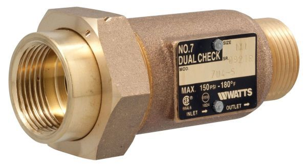 "1"", Union Female Meter Threaded x Male Meter Threaded, 10 to 150 PSI, Bronze, Dual Check, Backflow Preventer"
