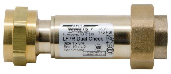 "1"" x 3/4"", Female Meter Threaded x Union FPT, 175 PSI, Lead-Free, Copper Silicon Alloy, Dual Check, Backflow Preventer"