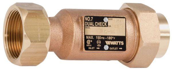 "1-1/4"" x 1"", Female Meter Threaded x Union FPT, 150 PSI, Lead-Free, Cast Copper Silicon Alloy, Dual Check, Backflow Preventer"