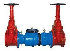 """6"""", Flanged x Flanged, 175 PSI, Lead-Free, Epoxy Coated, Ductile Iron, Double Check Valve, Backflow Preventer with Outside Screw and Yoke Gate Valve"""