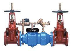 """6"""", Flanged x Flanged, 175 PSI, Lead-Free, Epoxy Coated, Ductile Iron, Double Check Detector, Backflow Preventer with Outside Screw and Yoke Gate Valve"""
