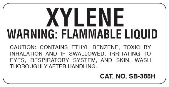 """SHA SB388H 1"""" x 2"""", 1"""" Core, White Background, Black Ink, Litho, Imprint: XYLENE WARNING: FLAMMABLE LIQUID CAUTION: CONTAINS ETHYL BENZENE, TOXIC BY INHALATION AND IF SWALLOWED, IRRITATING TO EYES, RESPIRATORY SYSTEM, AND SKIN, WASH THOROUGHLY AFTER HANDLING., Permanent Adhesive, Caution Label (500 per Roll)"""