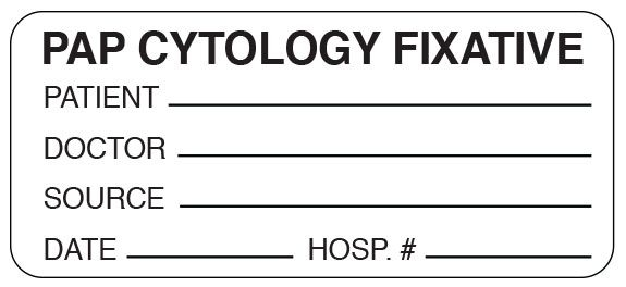 """SHA UPCR6047 1"""" x 2-1/4"""", 1"""" Core, White Background, Black Ink, Litho, Imprint: PAP CYTOLOGY FIXATIVE -PATIENT_ DOCTOR_ SOURCE_ DATE_ HOSP. #_, Permanent Adhesive, Caution Label (500 per Roll)"""