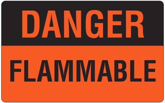 """SHA UPCR9701 2-1/2"""" x 4"""", 1"""" Core, Fluorescent Red Background, Black Ink, Imprint: DANGER FLAMMABLE, Permanent Adhesive, Caution Label (500 per Roll)"""