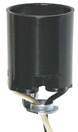 "9"" 660 W Medium Base Lamp Socket - 250 V, Phenolic, 1/8 IPS Hickey"