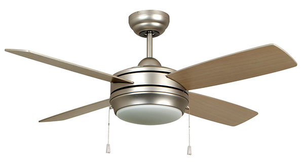 """44"""" 4-Blade Ceiling Fan - Laval, Brushed Pewter, Matte Silver / Maple Blade"""