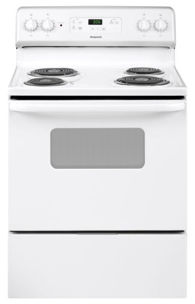 "5.0 CU FT, 2-8"", 2-6"", SENSI-TEMP WHITE ON WHITE 30"" HOTPOINT FS STANDARD CLEAN RANGES - COIL"