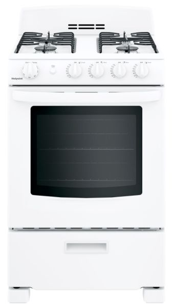 "24"" Freestanding Gas Range - Hotpoint, Natural, 120 VAC, 2.9 Cu Ft, 13000 BTU, White"