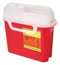 BEC 305443 5.4 Quart, Red, Side Entry Access, Side Entry Lid, Sharp Collector with Liquid Absorbing Pad and Universal Biohazardous Symbol (20 per Case)