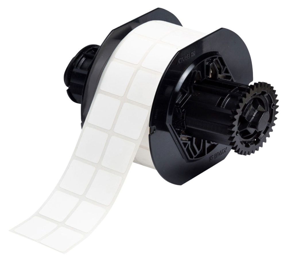 """BDY B33194481 0.9"""" x 0.75"""", 0.0033"""" Thick, 2000 per Roll, White Background, Matte, Polyester, Acrylic Adhesive, Rectangle, Label"""