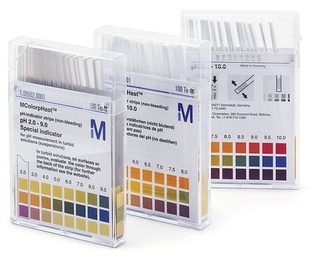 EMD 1095840001 White with Colored, Solid, Non-Bleeding, 2 to 9, pH-Indicator Strip (100 per Pack)