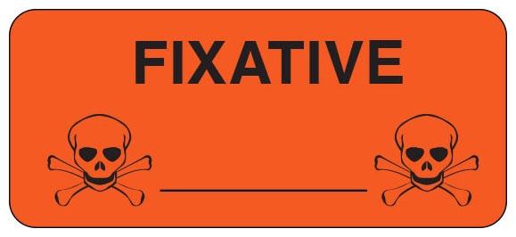 "SHA UPCR6044 2-1/4"" x 1"", 1"" Core, Fluorescent Red Background, Black Ink, Imprint: FIXATIVE/_____, Permanent Adhesive, Caution Label (500 per Roll)"