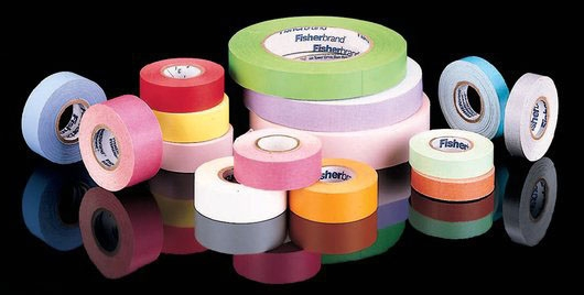 """FIS 159015R 0.75"""" x 14 Yd, 1"""" Core, Blue/Pink/Green/Red/Orange/Yellow/White, Colored, Rainbow Pack, Label Tape (16 per Case)"""
