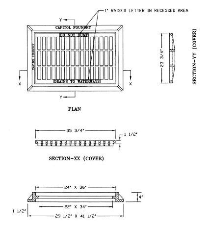 """36"""" x 24"""" Grate, 41-1/2"""" x 29-1/2"""" x 4"""" Frame, Grey, Cast Iron, Standard, Reversible, Manhole Frame and Grate"""