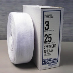 """TEX 91320425 4"""" x 25 Yd, Synthetic Ring Spun Polyester, Tubular, Non-Sterile, Orthopedic Stockinette (10 Rolls per Case)"""