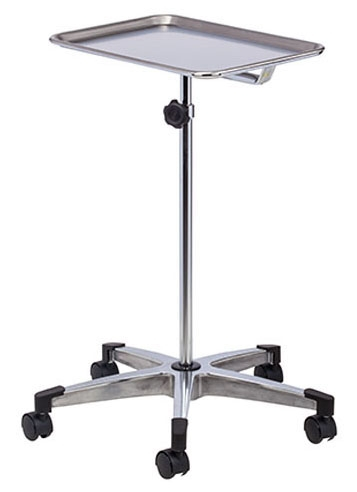 CLN M20 15 Lb, Cast Aluminum Base, Stainless Steel Tray, 5-Leg, Stable, Premium, Mobile Instrument Stand (2 per Box)