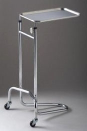 """TEC 4368 20"""" x 19-1/2"""" Base, 15 Lb, 2-Leg, Double Post, Mayo Stand with High Grade Stainless Steel Tray and Base"""