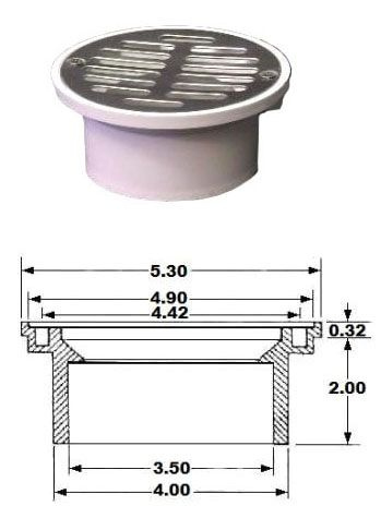 "3"" x 4"", PVC, Round Top, Floor Drain with Strainer"