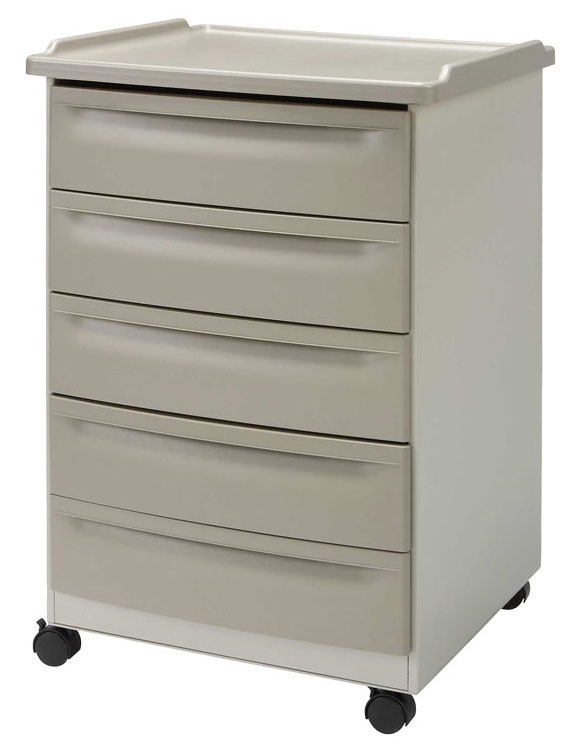 """BRE 63100 24.2"""" x 21.75"""" x 34.4"""", Powder Coated Steel, 4-Leg, Mobile Equipment Cart with (3) Small Drawer and (1) Large Drawer"""