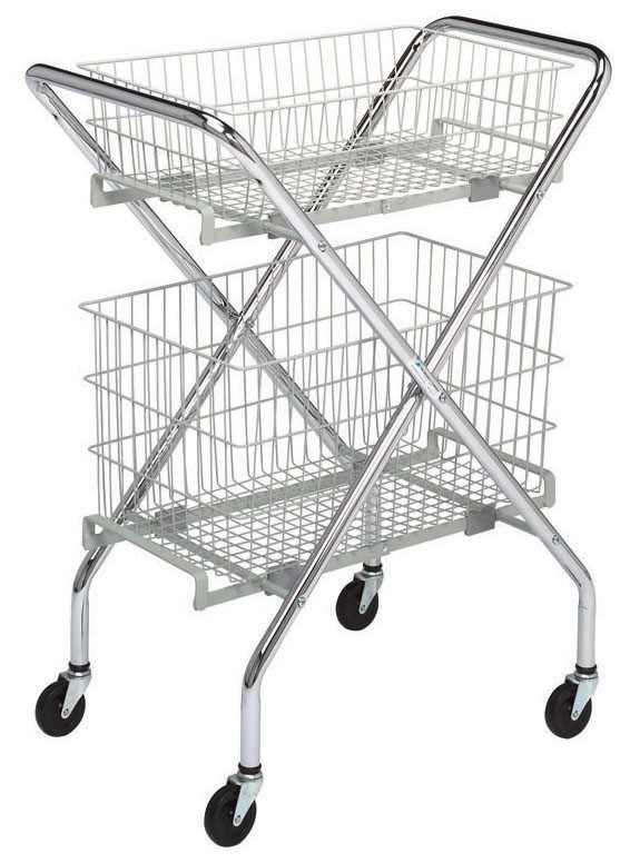 """BRE 63400 19.5"""" x 29"""" x 37.5"""", 50 Lb, White Powder Coated, Chrome Plated Steel, 4-Leg, Multi-Purpose Cart with 3"""" Rubber Wheel"""