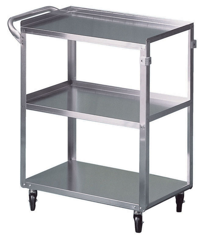 """BRE 63500 27"""" x 16"""" x 32"""", 300 Lb, Stainless Steel, 4-Leg, Utility Cart with 3.5"""" Rubber Wheel Caster"""