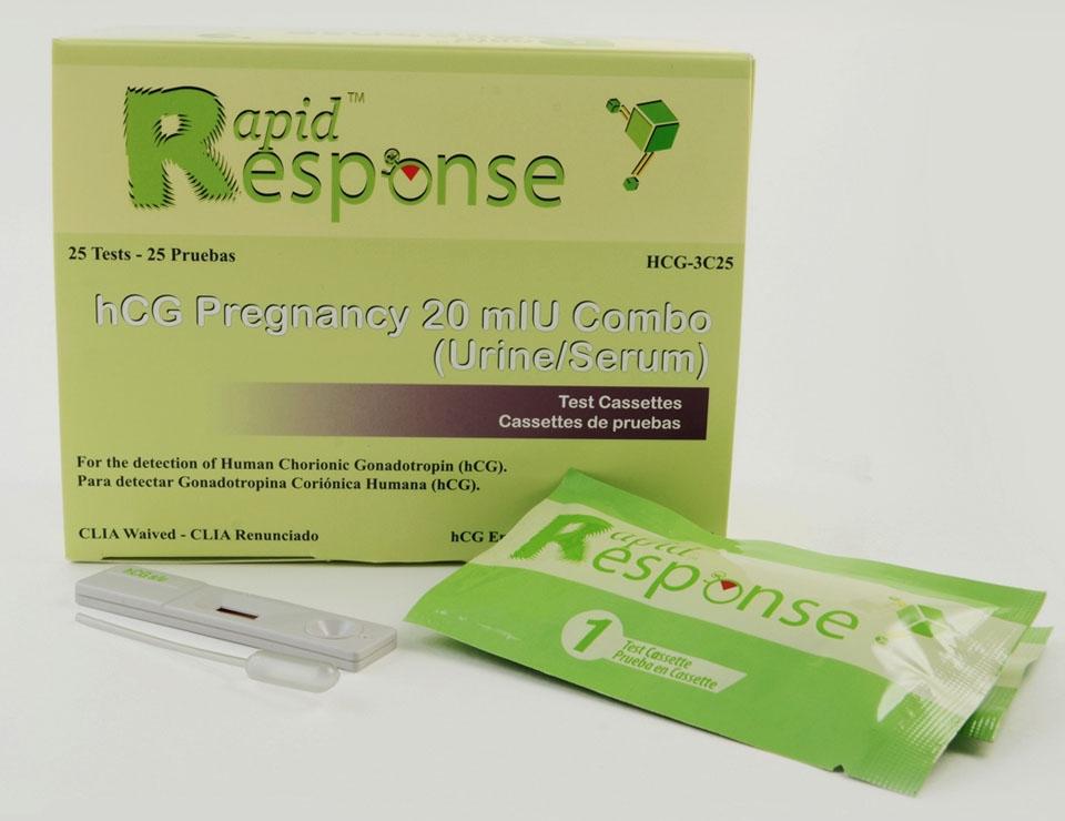 BNX HCG3C25 20 mIU/L Urine/Serum, 25-Test, hCG Pregnancy Test Cassette
