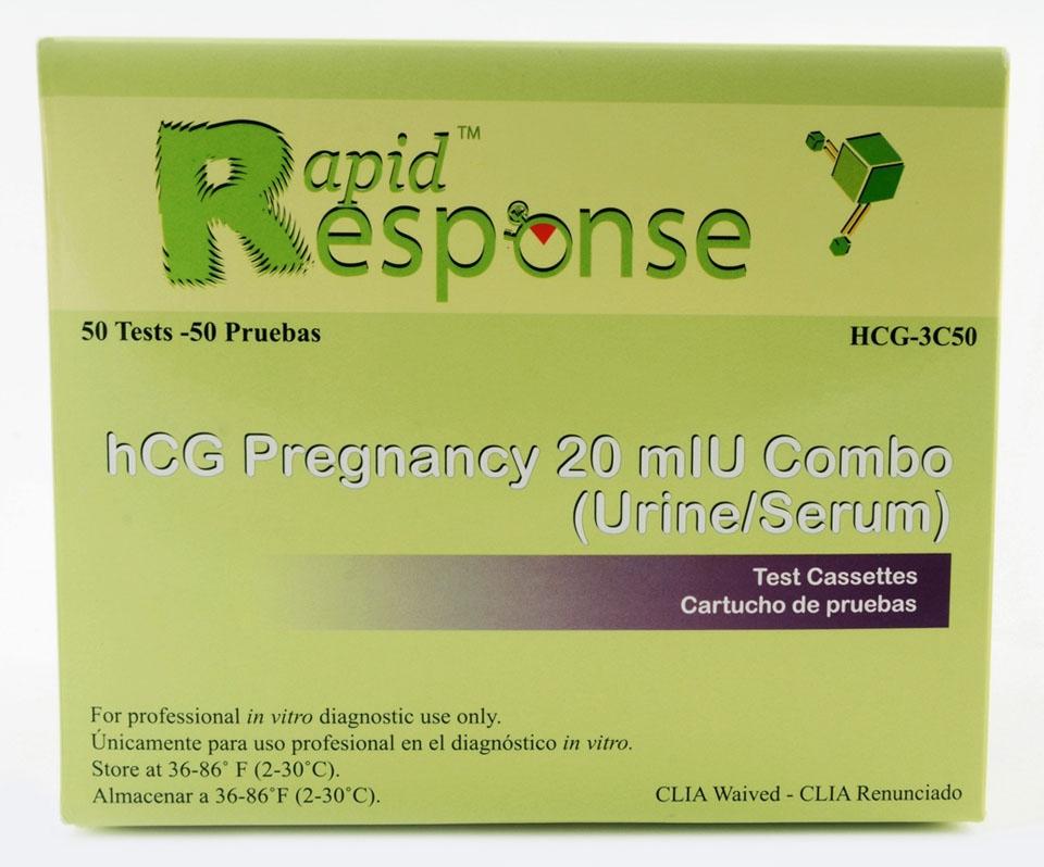 BNX HCG3C50 20 mIU/L Urine/Serum, 50-Test, hCG Pregnancy Test Cassette