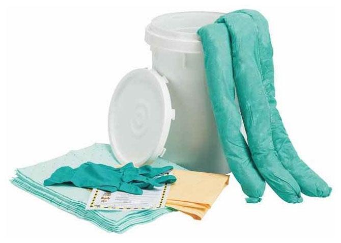 "FIS 19140939 18"" H, 6.5 Gallon Bucket, White, Polyethylene, Chemical Spill Kit"
