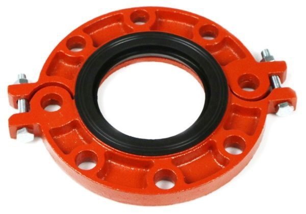 "6"", Grooved, 250 PSI, Orange Enamel, Ductile Iron, Flange Adapter"