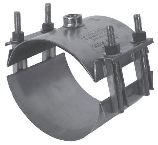 """8"""", 2"""" NPT Outlet, 8.52 to 9.82"""" OD Pipe, 304 Stainless Steel, Double Band, 2-Piece, Saddle"""