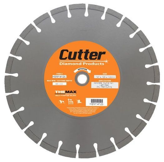 "14"" x 0.125"", 1""/20 MM Bore, Multi-Purpose, Floor Saw Blade for Concrete/Ductile Iron/Light Steel"