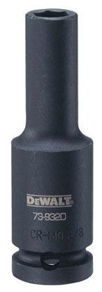 "1-1/16"" Socket End, Hex Drive, 6-Point, Heat Treated Steel, Deep Impact Socket"