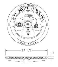 """33-1/4"""" x 7-1/2"""" Ring, 23-1/2"""" x 1"""" Cover, Grey, Cast Iron, Heavy Duty, Round, Bolted, Manhole Ring and Cover"""
