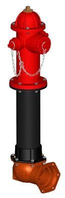 """6"""", Mechanical Joint Inlet, 5' Bury Depth, 250 PSI, Lead-Free, Red, Ductile Iron, C-Dome Bonnet, 3-Way Nozzle, Fire Hydrant"""