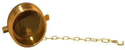 "2-1/2"", Rough Brass, Hose Valve Plug with Chain"