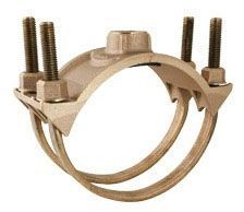 "6"", 1"" AWWA/CC Tapered NPT Outlet, 6.9"" OD Pipe, Brass, Double Strap, Saddle"
