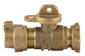"5/8"" x 3/4"", Pack Joint x Meter Yoke Nose, Lead-Free, Brass, Fluorocarbon Coated Brass, 360D Rotation, T-Handle, 300 PSI, Straight, Ball Valve"