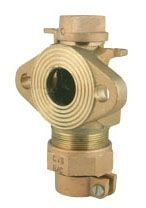 """2"""" Valve, 2"""" Pipe, Pack Joint x Meter Flanged, 80 PSI, Brass, Angle Ball Meter Valve"""
