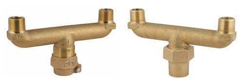 "1"" x 3/4"" x 3/4"", CTS Pack Joint x Meter Swivel Nut x Meter Swivel Nut, 7-1/2"" Spacing, Lead-Free, UNS C89833/C83600 Brass, U-Branch"