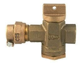 """3/4"""" Valve, 3/4"""" Pipe, Grip Joint x FPT, 100 PSI, Lead-Free, Brass, T-Handle, Inverted Key Curb Stop"""