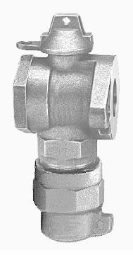 "1-1/2"" Meter, 1-1/2"" Pipe, CTS Pack Joint x Meter Flanged, 300 PSIG, Lead-Free, Cast Brass Alloy, 1/4 Turn, Lock Wing, Ball, Angle, Meter Valve"