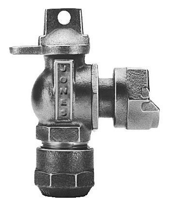 """5/8"""" x 3/4"""" Meter, 5/8"""" x 3/4"""" x 3/4"""" Pipe, CTS 110 Conductive Compression x Meter Swivel Nut, 300 PSIG, Lead-Free, Cast Brass Alloy, 1/4 Turn, Lock Wing, Ball, Angle, Meter Valve"""