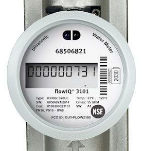 "1"" Meter, 5/4"" NPT, 10-3/4"" L, 250 PSI, 55 GPM, IP68, Lead-Free, Polyphenylene Sulfide Housing, Stainless Steel Reflector, Encoded Output, Industrial Water Meter"